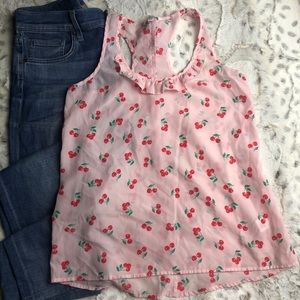 Candies Cherry Print Racer Back Tank Semi Sheer